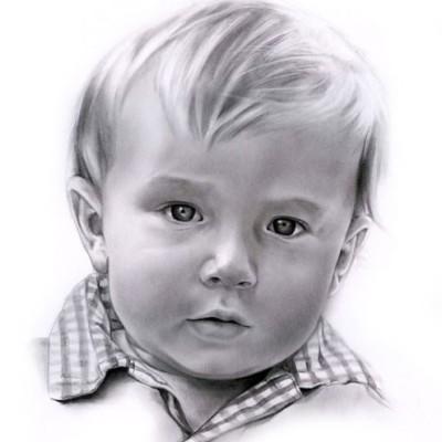 Junge Portrait nach foto zaichnen