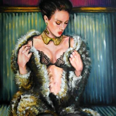Dame Pelzmantel Gemälde