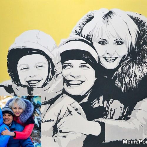 Pop-art Familienporträt Kunstwerk