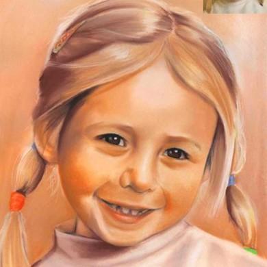 Pastell Bild kleine Mädchen